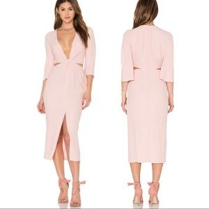 Bec + Bridge Slim Dusty Rose Twist Dress US 6